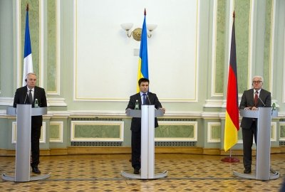 Press Conference of Foreign Ministers of Ukraine, Germany and France in Kiev